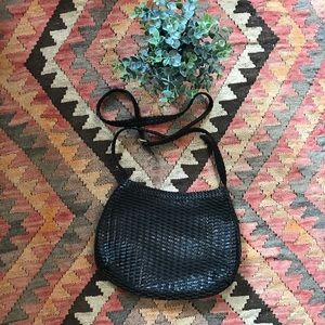 Vintage Woven Leather Crossbody Bag by CEM